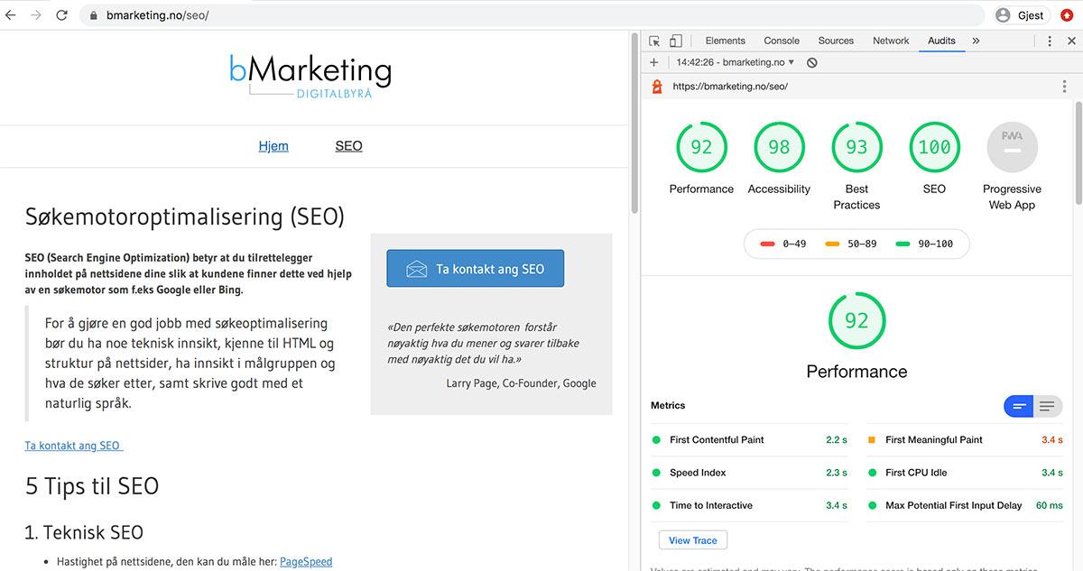 Nettsiden SEO, bMarketing: Rapporten i Chrome som viser over 90% på Perfomance, Accesibility, Best Practice og SEO.