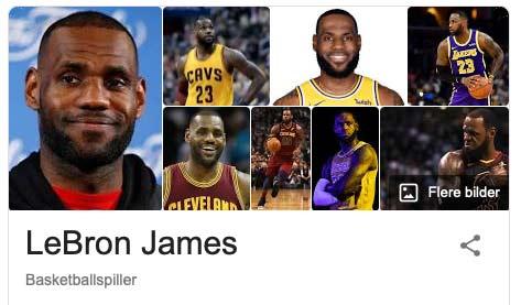 Utsnitt fra Google: LeBron James, verdens mest kjente basketballspiller.