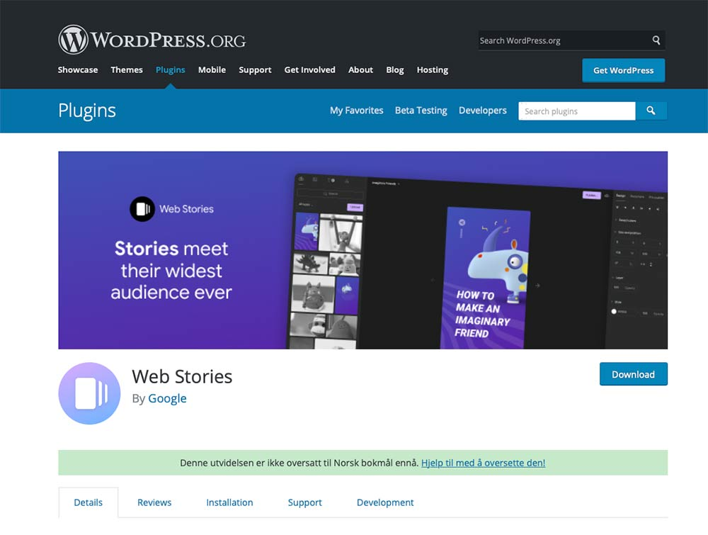 Du finner Google Web Stories plugin på wordpress.org