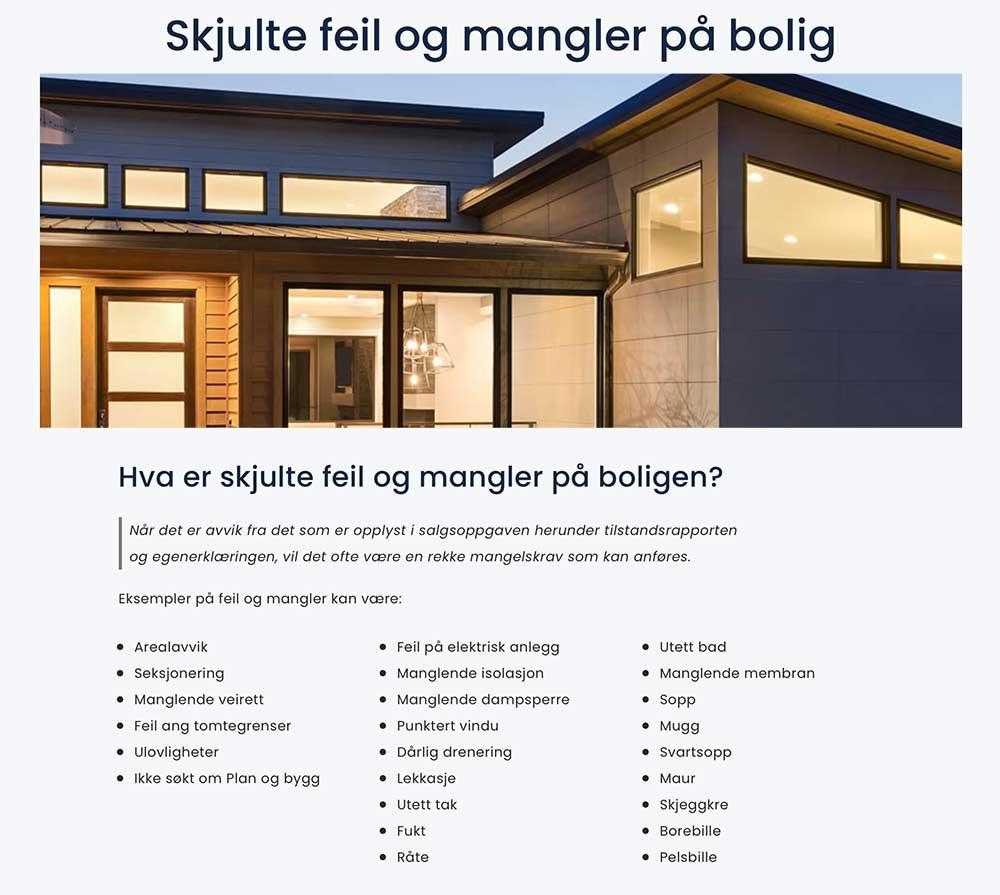 Skjulte feil og mangler på bolig. Bildelenke til nettside, resten av teksten kan leses på ausitnlyngmyr.no