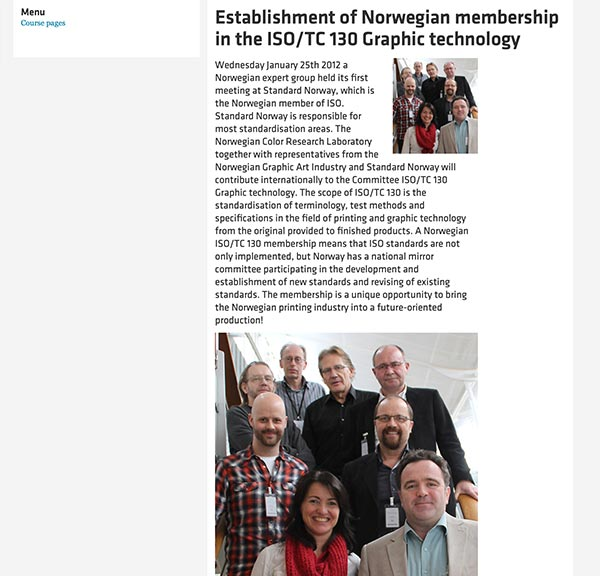 Establishment of Norwegian membership in the ISO/TC 130 Graphic technology