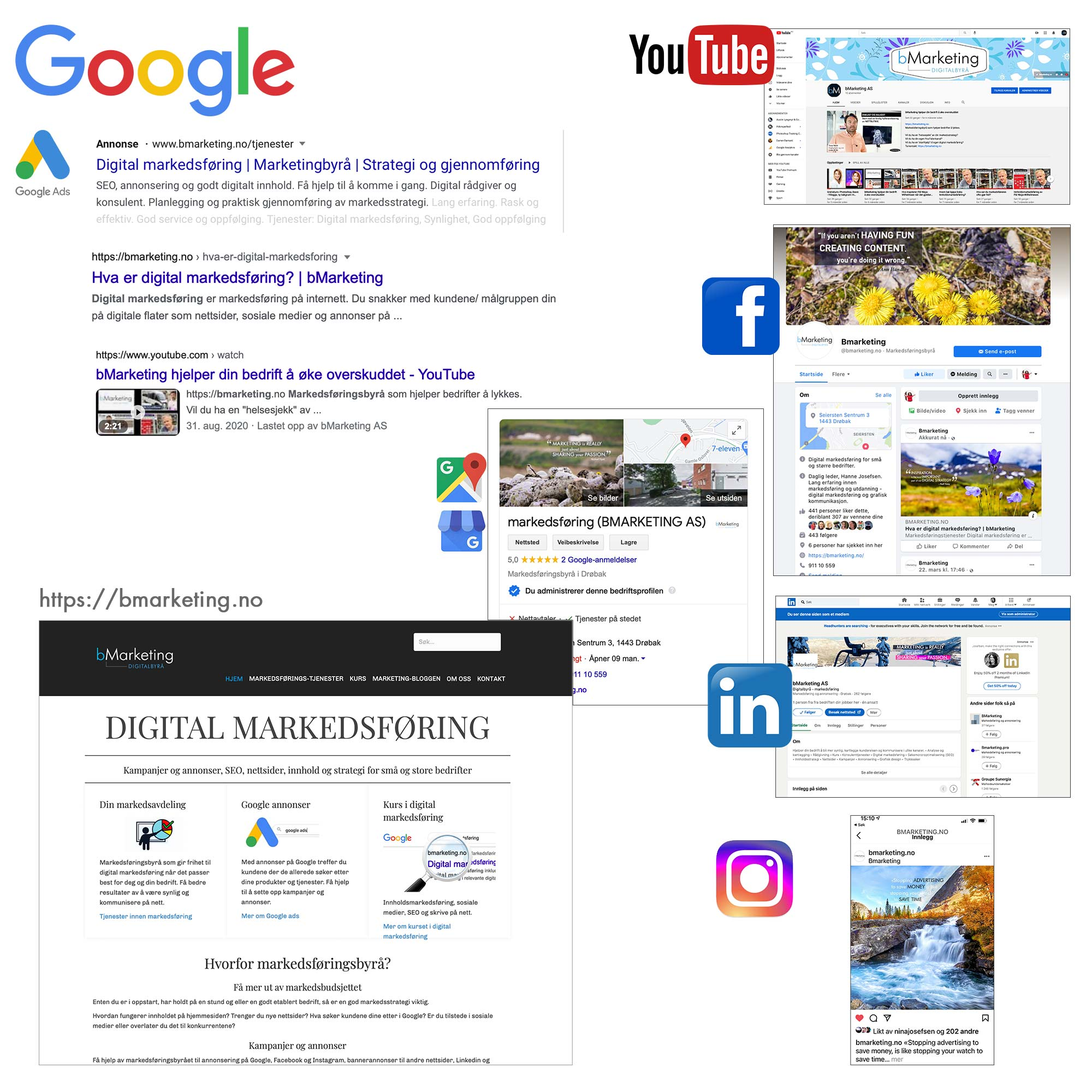 bmarketing er synlig på Google, i Google Ads, på YouTube, Facebook, LinkedIn og Instagram, samt Google Map og Google bedrift.