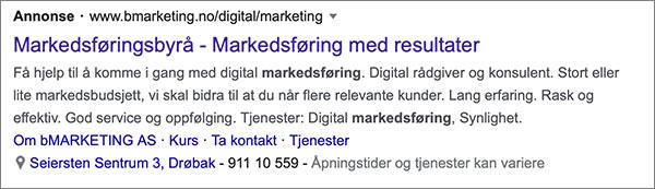 Eksempel på Google-annonse
